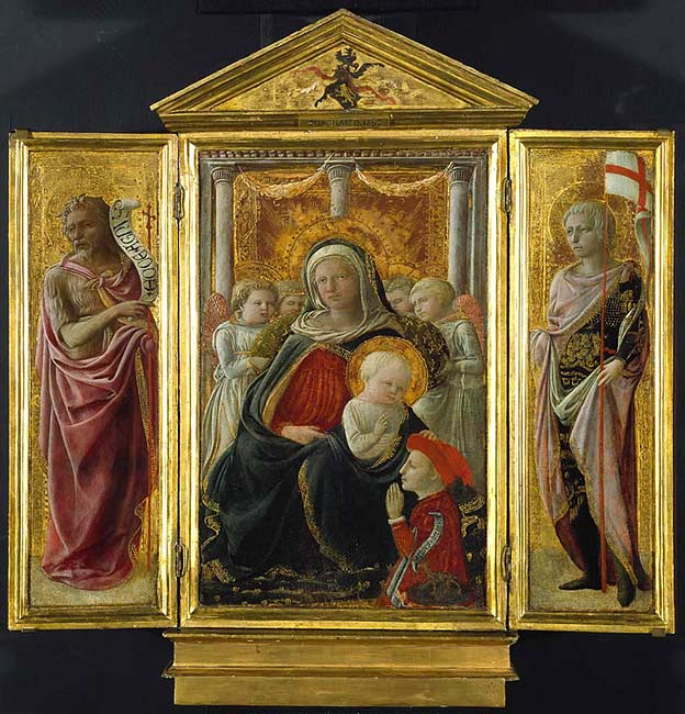 Triptych with the Virgin and Child, St. John the Baptist and St. Ansanus, late 1420s