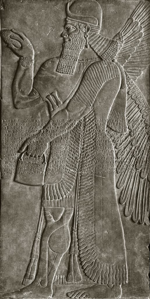 Relief with winged deity