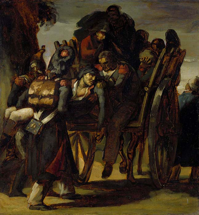 Wounded soldiers in a cart, c. 1814–18