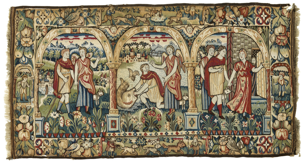 Three scenes from the story of Tobias and the Angel; the journey, Tobias captures the fish, the homecoming.